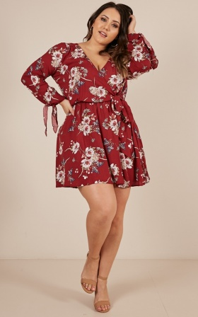 Homebound dress in wine floral