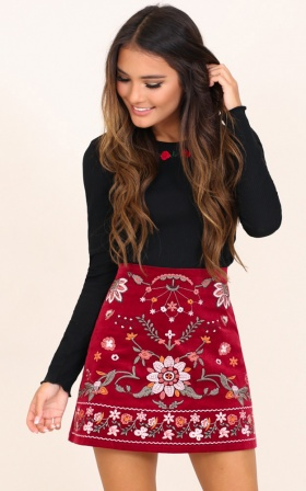 Im Worth It Skirt In Wine Embroidery