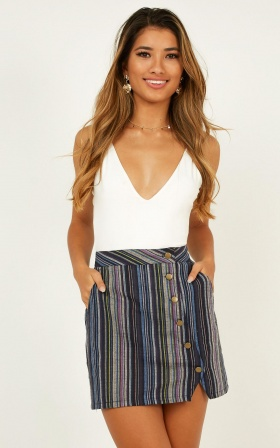 In Hindsight Skirt In Navy Stripe