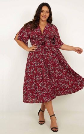 Inner Circle Only Dress In Wine Floral