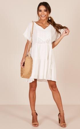 Inspire Me dress in white linen look