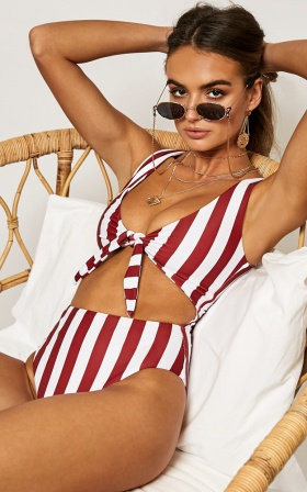 Izzy One Piece in Chilli Stripe