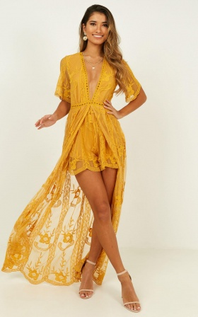 Lets Get Loud Maxi Playsuit In Mustard Lace