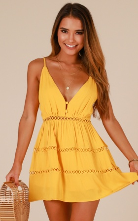 Like A Star playsuit In Mustard