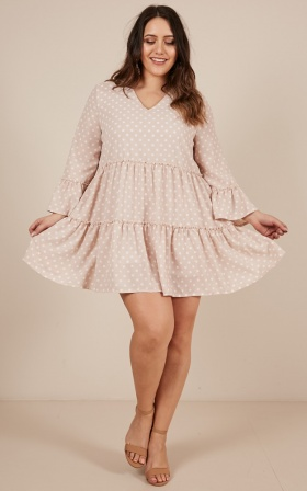 Lovers Charm dress in beige polkadot