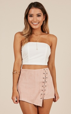 Might Not skort in blush suedette