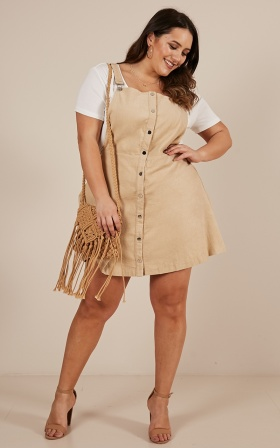 Not For Me pinafore dress in beige corduroy