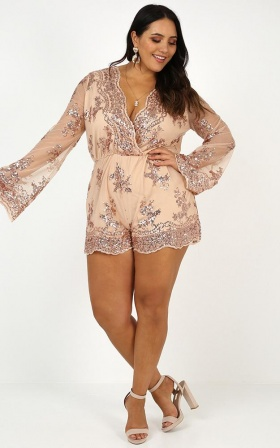 On Call Playsuit In Rose Gold Sequin