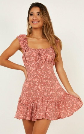 Only For A Minute Dress In Dusty Rose Print