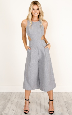 c38bcb105e51 Out Dream Yourself Jumpsuit In Grey Marle Linen Look ...