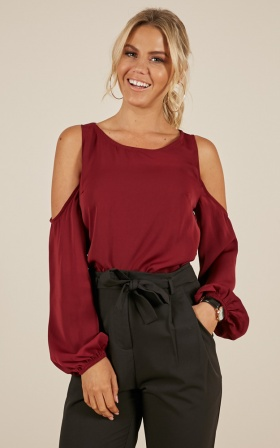 Out Of Pocket top in wine
