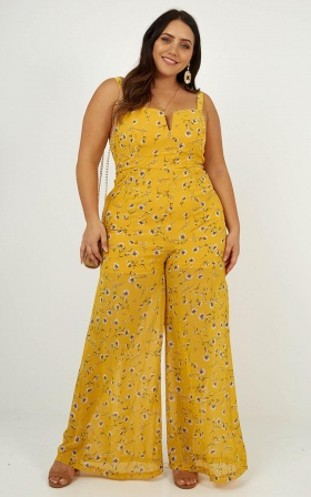 Out Of The Woods Jumpsuit In yellow Floral