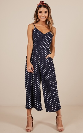 Dreamy Days Jumpsuit in navy polka dot