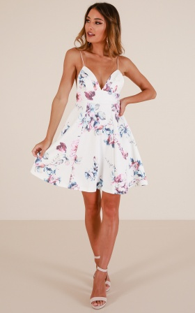 Poison Heart Dress in white floral