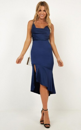 My Love Is Your Love Dress In Navy Satin