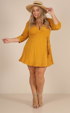 Knot A Moment dress in mustard polkadot