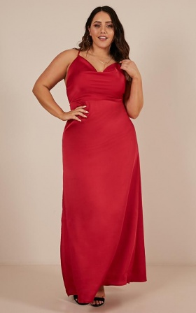 Style And Substance Maxi Dress In Red Satin