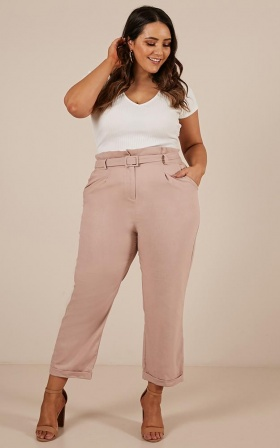 Golden Girl Pants In Blush Linen Look
