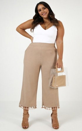 Lets Get Started Pants In Beige Linen Look