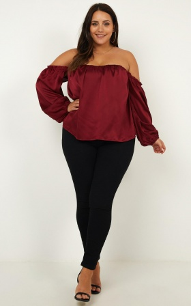 Court Love Top In Wine Satin