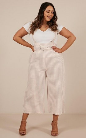 Sweet Selection Overalls In Blush Stripe