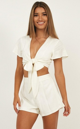 Sunny Days Two Piece Set In White Linen Look