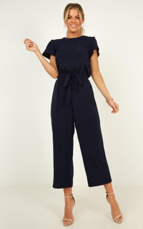 Pave Your Path Jumpsuit In Navy