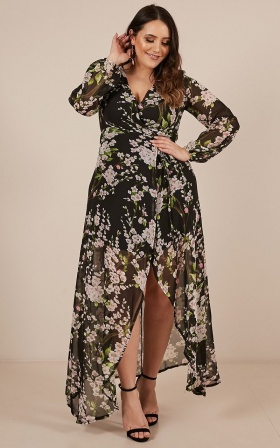 Autumn Falls Maxi Dress In Black Floral