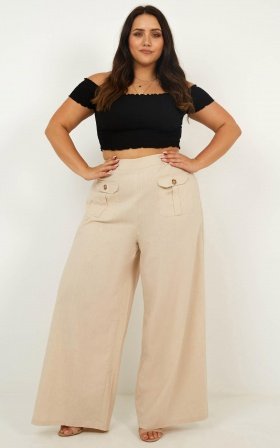 Pit Stop Pants In Natural Linen Look