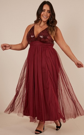 Forever And Ever Maxi Dress In Wine