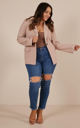 Chill Fighter Blazer In Blush Linen Look