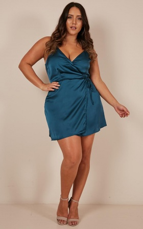 All Things Nice Dress In Teal Satin