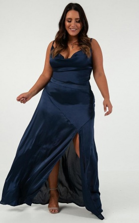 Shape Of You Dress in navy satin