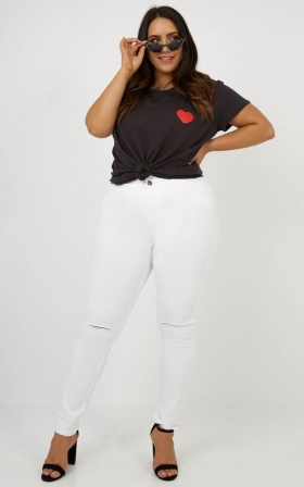 Bella Skinny Jeans In White Denim