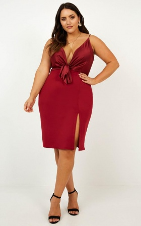 Romantic Date Dress In Wine