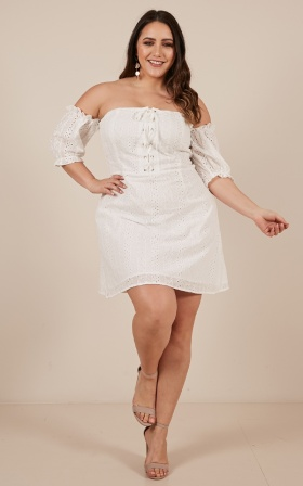 Always Looking For You Dress in white embroidery