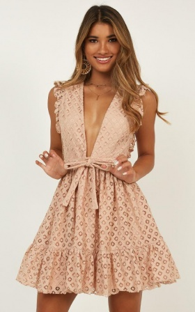 Only Lovers Left Dress In blush lace
