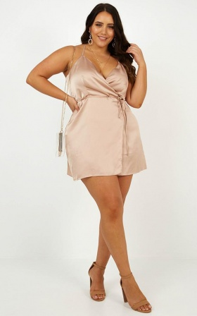 All Things Nice Dress In Mocha Satin