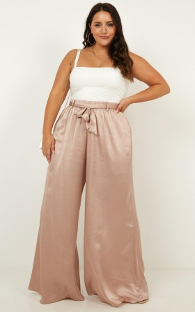 Egyptian love Pants in mocha satin