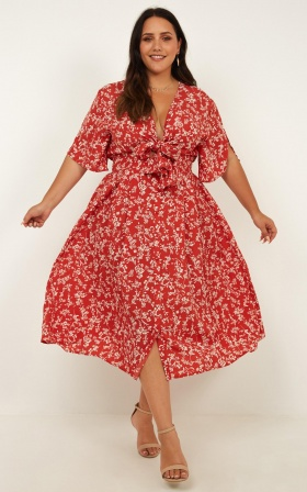 Inner Circle Only Dress In Rust Floral