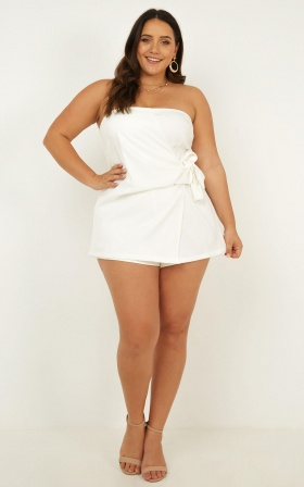 No Time Today Playsuit In White