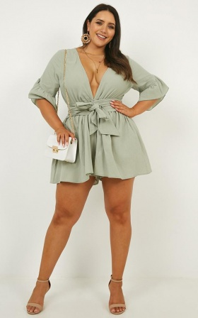 Over And Out Playsuit In Sage Linen Look