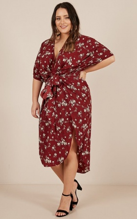 The Right Path Dress In Wine Floral