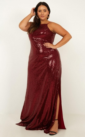 All Bets Off  Dress In Wine Sequin