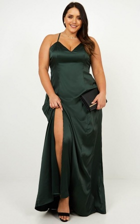 Back Tracking Dress In Emerald Satin