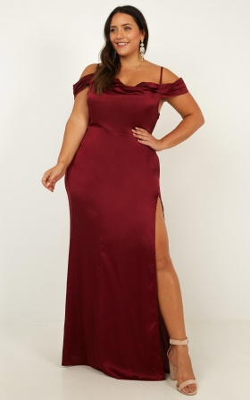 City Is Mine Dress in wine satin