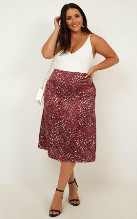 Creating Art Skirt In Wine Leopard Satin