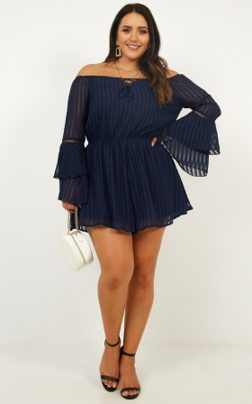 Cupids Arrow Playsuit In Navy