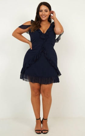 Flirtacious  Dress In Navy
