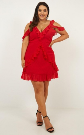 Flirtacious  Dress In Red Dobby